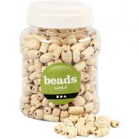 Perlen aus Holz, Größe 5-28 mm, Lochgröße 2,5-3 mm, 400 ml/ 1 Eimer, 175 g
