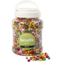 Perlen aus Holz, D: 5-8 mm, Lochgröße 1,5 mm, Sortierte Farben, 400 ml/ 1 Eimer, 175 g