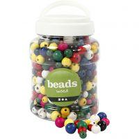 Perlen aus Holz, D: 8+10+12 mm, Lochgröße 2-2,5 mm, Sortierte Farben, 400 ml/ 1 Eimer, 175 g