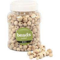 Perlen aus Holz, D: 8+10+12+15 mm, Lochgröße 2-3 mm, 400 ml/ 1 Eimer, 175 g