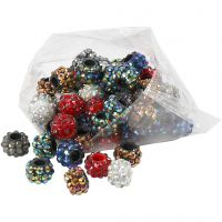 Strass-Perlen - Sortiment, Größe 9x13 mm, Lochgröße 5 mm, Sortierte Farben, 6x10 Stk/ 1 Pck