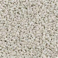 Rocaille Seed Beads, D: 1,7 mm, Größe 15/0 , Lochgröße 0,5-0,8 mm, Silver Metall, 25 g/ 1 Pck