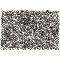 Rocaille Seed Beads, D: 1,7 mm, Größe 15/0 , Lochgröße 0,5-0,8 mm, Grau Metall, 500 g/ 1 Btl.