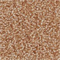 Rocaille Seed Beads, D: 1,7 mm, Größe 15/0 , Lochgröße 0,5-0,8 mm, Pfirsich, 25 g/ 1 Pck