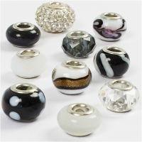 Glasperlen Harmonie, D: 13-15 mm, Lochgröße 4,5-5 mm, Harmonie in Schwarz-Weiß, 10 sort./ 1 Pck