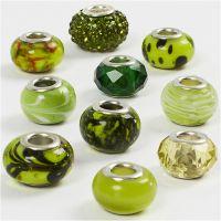 Glasperlen Harmonie, D: 13-15 mm, Lochgröße 4,5-5 mm, Grün mit Glitter, 10 sort./ 1 Pck