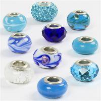 Glasperlen Harmonie, D: 13-15 mm, Lochgröße 4,5-5 mm, Harmonie in Blau, 10 sort./ 1 Pck