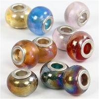 Glasperlen, D: 13-15 mm, Lochgröße 4,5-5 mm, 10 sort./ 1 Pck