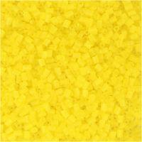 Farbige Glasröhren-Perlen, 2-cut, D: 1,7 mm, Größe 15/0 , Lochgröße 0,5 mm, Transparent Gelb, 25 g/ 1 Pck