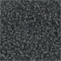 Farbige Glasröhren-Perlen, 2-cut, D: 1,7 mm, Größe 15/0 , Lochgröße 0,5 mm, Transparent Grau, 25 g/ 1 Pck