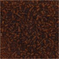 Farbige Glasröhren-Perlen, 2-cut, D: 1,7 mm, Größe 15/0 , Lochgröße 0,5 mm, Braun, 25 g/ 1 Pck