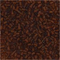 Rocaille Seed Beads, 2-cut, D: 1,7 mm, Größe 15/0 , Lochgröße 0,5 mm, Braun, 500 g/ 1 Btl.