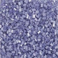 Farbige Glasröhren-Perlen, 2-cut, D: 1,7 mm, Größe 15/0 , Lochgröße 0,5 mm, Transparent Lila, 25 g/ 1 Pck