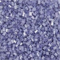 Farbige Glasröhren-Perlen, 2-cut, D: 1,7 mm, Größe 15/0 , Lochgröße 0,5 mm, Transparent Lila, 500 g/ 1 Btl.
