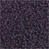 Farbige Glasröhren-Perlen, 2-cut, D: 1,7 mm, Größe 15/0 , Lochgröße 0,5 mm, Frosted Lila, 25 g/ 1 Pck