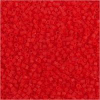 Farbige Glasröhren-Perlen, 2-cut, D: 1,7 mm, Größe 15/0 , Lochgröße 0,5 mm, Transparent Rot, 25 g/ 1 Pck