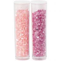 Farbige Glasröhren-Perlen, 2-cut, D: 1,7 mm, Größe 15/0 , Lochgröße 0,5 mm, Rosa, Transparent Rosa, 2x7 g/ 1 Pck