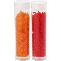 Farbige Glasröhren-Perlen, 2-cut, D: 1,7 mm, Größe 15/0 , Lochgröße 0,5 mm, Transparent Orange, Transparent Rot, 2x7 g/ 1 Pck