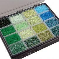 Rocaille Seed Beads, D: 3+4 mm, Größe 6/0+8/0 , Lochgröße 0,6-1,0+0,9-1,2 mm, Sortierte Farben, 16x100 g/ 1 Pck