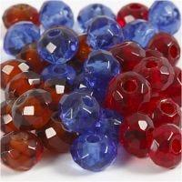Glasperlen, Größe 9x14 mm, Lochgröße 4 mm, Blau, Braun, Rot, 36 Stk/ 1 Pck