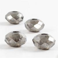 Glasperlen, Größe 9x14 mm, Lochgröße 4 mm, Dunkelgrau, 4 Stk/ 1 Pck