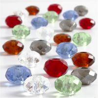 Glasperlen, Größe 9x14 mm, Lochgröße 4 mm, Sortierte Farben, 24 sort./ 1 Pck