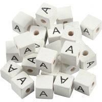 Buchstaben-Perle, A, Größe 8x8 mm, Lochgröße 3 mm, Weiß, 25 Stk/ 1 Pck