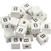 Buchstaben-Perle, B, Größe 8x8 mm, Lochgröße 3 mm, Weiß, 25 Stk/ 1 Pck