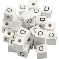 Buchstaben-Perle, D, Größe 8x8 mm, Lochgröße 3 mm, Weiß, 25 Stk/ 1 Pck