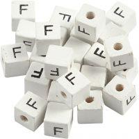 Buchstaben-Perle, F, Größe 8x8 mm, Lochgröße 3 mm, Weiß, 25 Stk/ 1 Pck