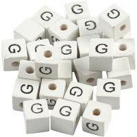 Buchstaben-Perle, G, Größe 8x8 mm, Lochgröße 3 mm, Weiß, 25 Stk/ 1 Pck