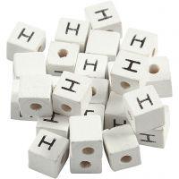 Buchstaben-Perle, H, Größe 8x8 mm, Lochgröße 3 mm, Weiß, 25 Stk/ 1 Pck