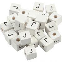 Buchstaben-Perle, J, Größe 8x8 mm, Lochgröße 3 mm, Weiß, 25 Stk/ 1 Pck