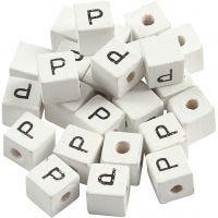 Buchstaben-Perle, P, Größe 8x8 mm, Lochgröße 3 mm, Weiß, 25 Stk/ 1 Pck