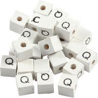 Buchstaben-Perle, Q, Größe 8x8 mm, Lochgröße 3 mm, Weiß, 25 Stk/ 1 Pck