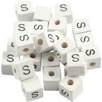 Buchstaben-Perle, S, Größe 8x8 mm, Lochgröße 3 mm, Weiß, 25 Stk/ 1 Pck