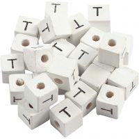Buchstaben-Perle, T, Größe 8x8 mm, Lochgröße 3 mm, Weiß, 25 Stk/ 1 Pck