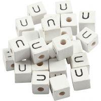Buchstaben-Perle, U, Größe 8x8 mm, Lochgröße 3 mm, Weiß, 25 Stk/ 1 Pck