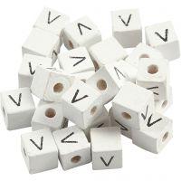 Buchstaben-Perle, V, Größe 8x8 mm, Lochgröße 3 mm, Weiß, 25 Stk/ 1 Pck