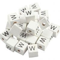 Buchstaben-Perle, W, Größe 8x8 mm, Lochgröße 3 mm, Weiß, 25 Stk/ 1 Pck