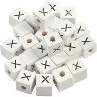 Buchstaben-Perle, X, Größe 8x8 mm, Lochgröße 3 mm, Weiß, 25 Stk/ 1 Pck