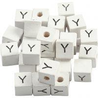 Buchstaben-Perle, Y, Größe 8x8 mm, Lochgröße 3 mm, Weiß, 25 Stk/ 1 Pck