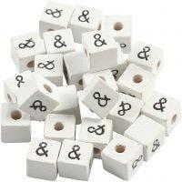 Zeichen-Perle, &, Größe 8x8 mm, Lochgröße 3 mm, Weiß, 25 Stk/ 1 Pck
