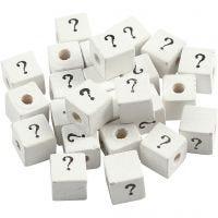 Zeichen-Perle, ?, Größe 8x8 mm, Lochgröße 3 mm, Weiß, 25 Stk/ 1 Pck