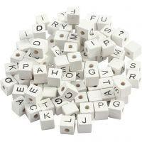 Buchstaben-Perle, A-Z, &, #, ?, Größe 8x8 mm, Lochgröße 3 mm, Weiß, 96 sort./ 1 Pck
