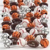 Sportball-Perlen, Größe 11-15 mm, Lochgröße 3-4 mm, Sortierte Farben, 45 g/ 1 Pck