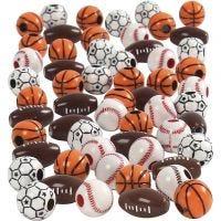 Sportball-Perlen, Größe 11-15 mm, Lochgröße 3-4 mm, Sortierte Farben, 270 g/ 1 Pck