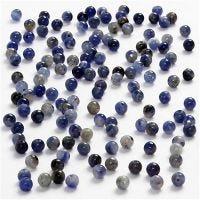 Steinperlen, D: 3 mm, Lochgröße 0,5-0,7 mm, Blau, 120 Stk/ 1 Pck