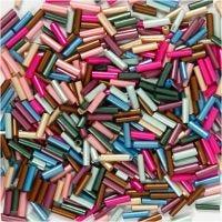 Bead Mix, L: 6 mm, D: 1,5-2 mm, Lochgröße 1 mm, Metallic-Farben, 130 g/ 1 Pck