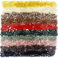 Kunststoffperlen - Sortiment, D: 6 mm, Lochgröße 1,5 mm, Sortierte Farben, 10x40 g/ 1 Pck